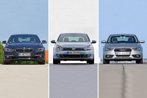 BMW 3er, VW Golf GTI, Audi A4