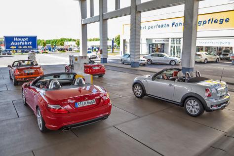 Mercedes SLK/Mini Roadster Cooper: Diesel gegen Benziner