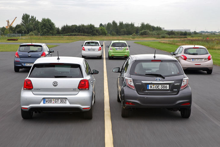 Honda Jazz Hyundai i20 Peugeot 208 Skoda Fabia Toyota Yaris VW Polo
