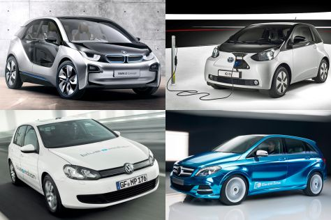 BMW i3 concept, Toyota iQ EV, VW Golf Blue-e-Motion, Audi R8 e-tron (v.l.o. im Uhrzeigersinn)