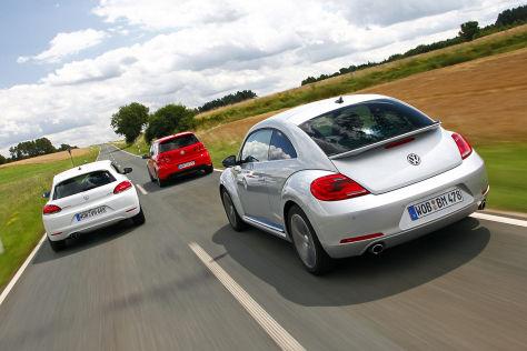 VW Scirocco 2.0 TSI DSG/VW Golf GTI DSG/VW Beetle 2.0 TSI DSG: Vergleich