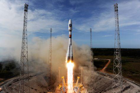 Start Sojus-Rakete mit Navigationssystem Galileo