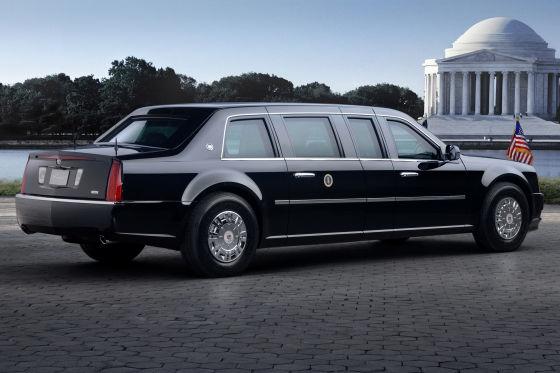 Der Cadillac soll acht Tonnen wiegen und sogar Raketen standhalten.