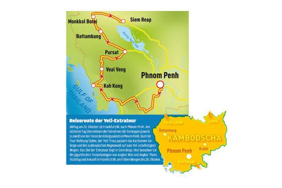Die Yeti-Extratour startete in Phnom Penh und endete nach sechs Tagen in Siem Reap.