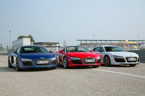 Audi R8/Audi R8 V10 Plus/Audi R8 V10 Spyder: Vergleich