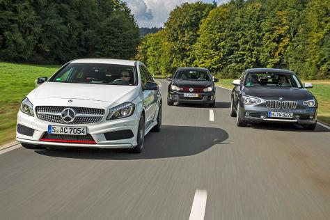 Mercedes A250 Sport/VW Golf GTI DSG/BMW 125i: Vergleich