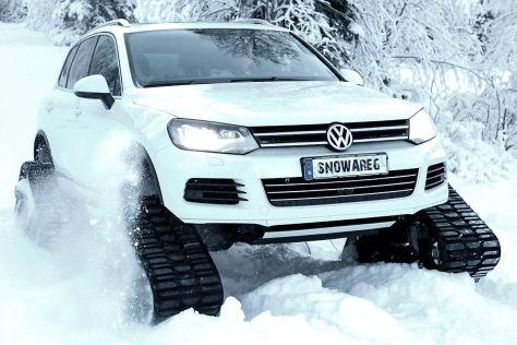 """Snowareg"": VW Touareg mit Raupenlaufwerken"