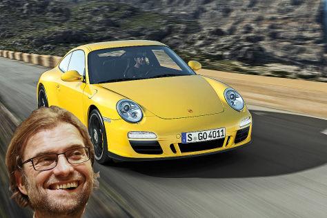 Jürgen Klopp und ein Porsche 911 Carrera 4 GTS (Montage)