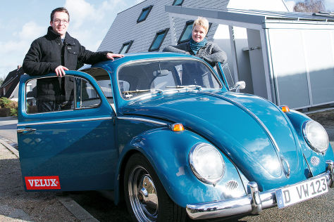 Der vom Oldtimer-Umrüster David Nanni zum E-Mobil umgebaute 50er-Jahre-Käfer im Besitz der Familie Oldendorf