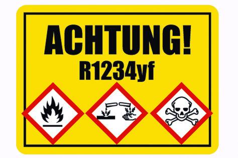 Warnschild Kältemittel R1234yf