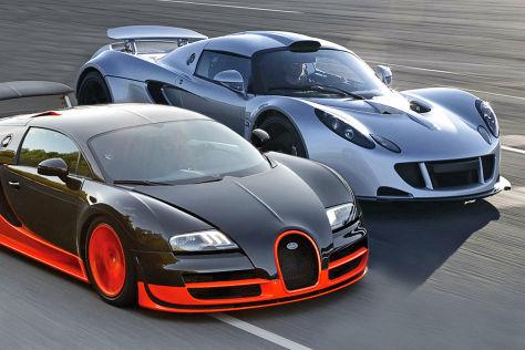 Bugatti Veyron 16 4 Super Sport Gegen Hennesey Venom Gt
