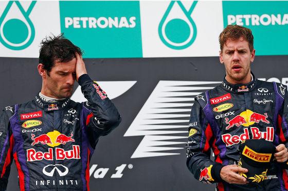 Webber (li.) und Vettel