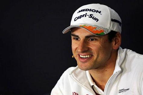 Adrian Sutil hat sichtlich Freude, wieder zum Formel-1-Zirkus zu gehören