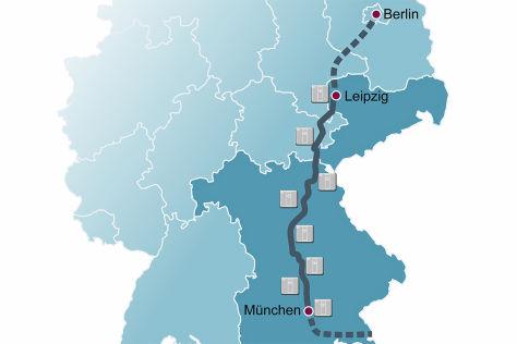 Karte mit Schnellladestationen an der A 9