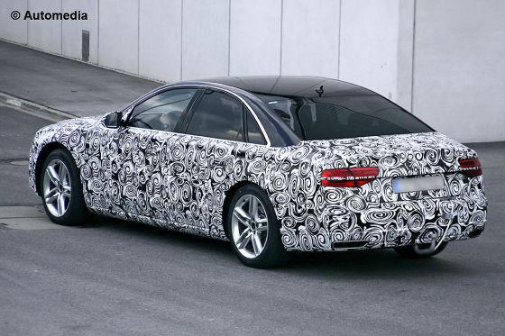 Audi A8 Facelift Erlkönig Testfahrt Heckansicht