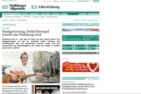 """Screenshot """"WAZ"""" mit Wolfsburg-Lied"""