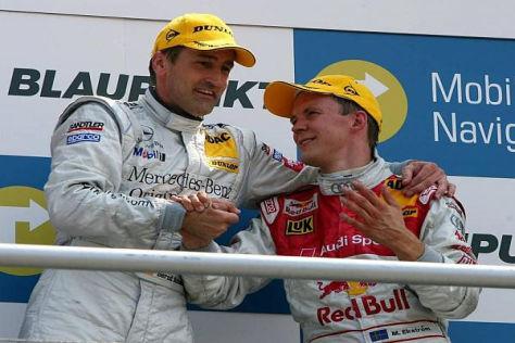 Mattias Ekström und Bernd Schneider standen noch gemeinsam auf dem Podest