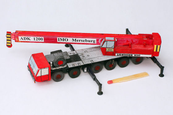 Liebherr Kran Modellauto Faltmodell