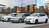 VW Golf/BMW 1er/Toyota Auris Hybrid: Test