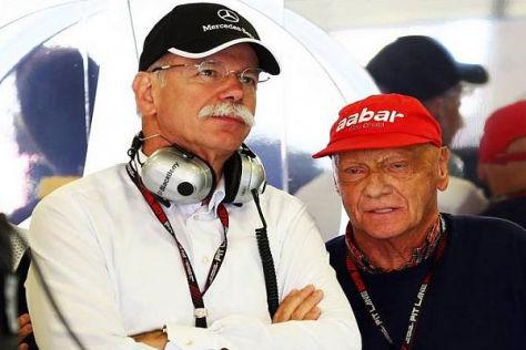 """Zetsche und Lauda mussten mitansehen, wie die """"Silberpfeile"""" zurückfielen"""