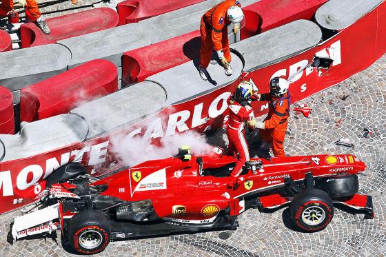 Verunfallter Ferrari von Felipe Massa bein Monaco-GP 2013