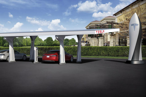 Tesla Supercharger Station (Schnellladestation) Illustration