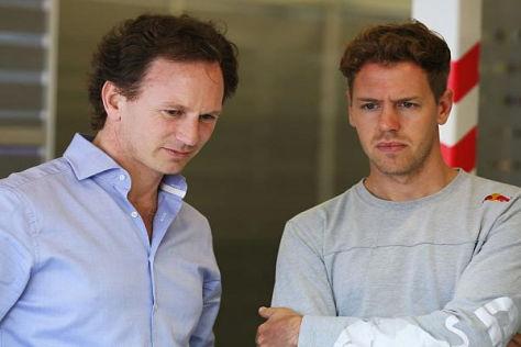 Christian Horner und Sebastian Vettel verlängerten den Vertrag nur um ein Jahr