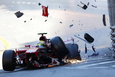 Felipe Massa bei seinem spektakulären Unfall in Monaco