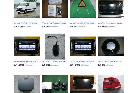Geklaute Autoteile bei Ebay (2013)