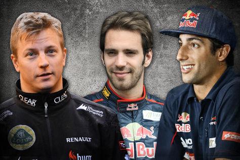 Kimi Räikkönen, Daniel Ricciardo, Jean-Eric Vergne