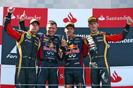 Räikkönen (l.), Vettel (zweiter von r.), Grosjean (r.)