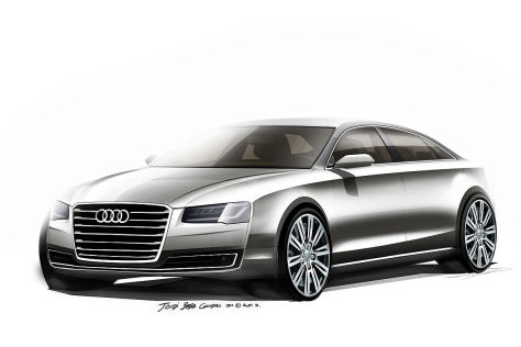 Audi A8 Facelift: Erste Skizzen