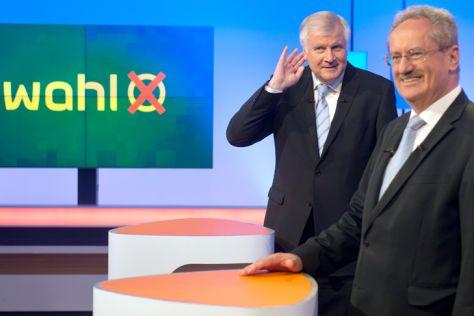 Horst Seehofer (CSU, links) und Christian Ude beim Wahlkampfduell am 4. September 2013
