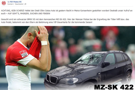 Screenshot von der Mainz 05-Homepage