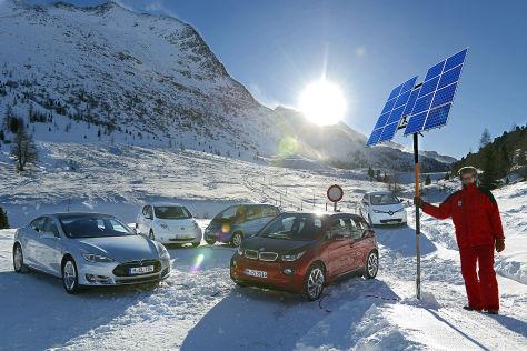 Fünf Elektroautos im Wintertest