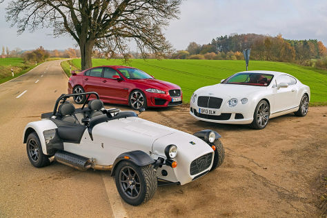 Jaguar XFR-S   Bentley Continental GT Speed   Caterham Seven 485R