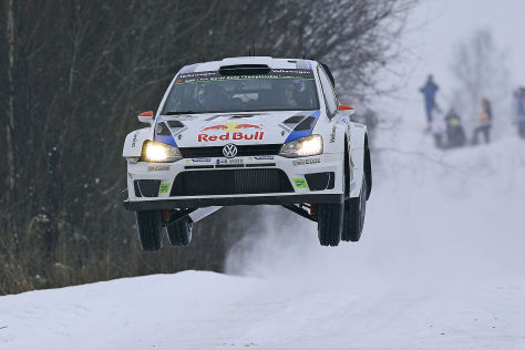 VW-Pilot Jari-Matti Latvala bei der Schweden-Rallye