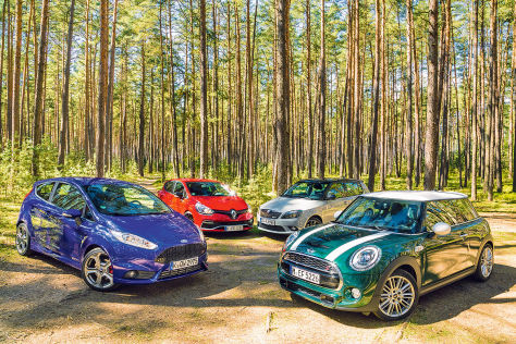 Ford Fiesta ST Mini Cooper S Renault Clio RS Cup Skoda Fabia RS