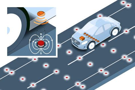 Volvo Fahrbahnmagnete zur Positionsbestimmung von Fahrzeugen