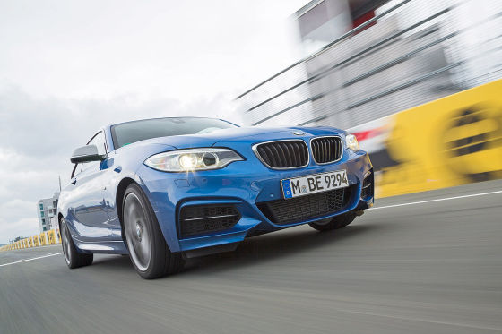 BMW M235i blau Frontansicht