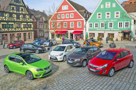 Seat Ibiza, Renault Clio, Dacia Sandero, Skoda Fabia, Ford Fiesta, Mini, Audi A1, Toyota Yaris, VW Polo, Opel Corsa