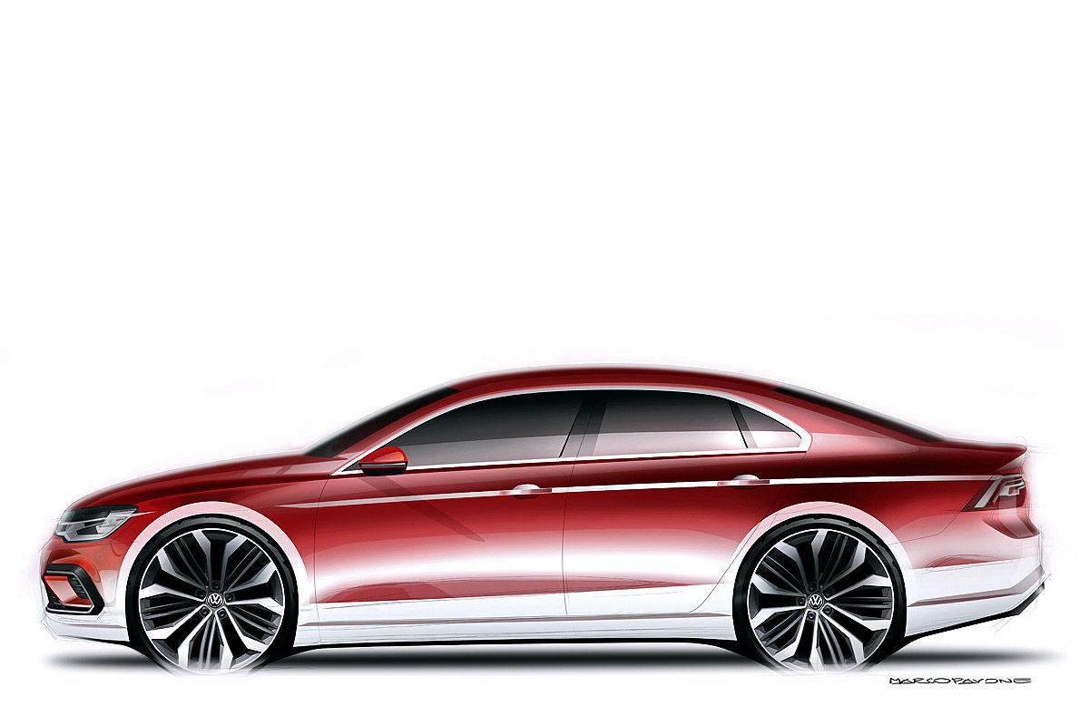 Наброски силуэта Volkswagen Midsize Coupe