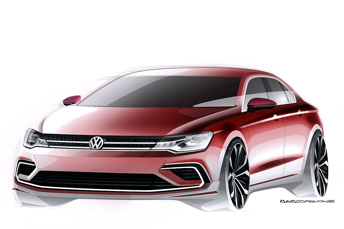 Наброски дизайна VW Midsize Coupe