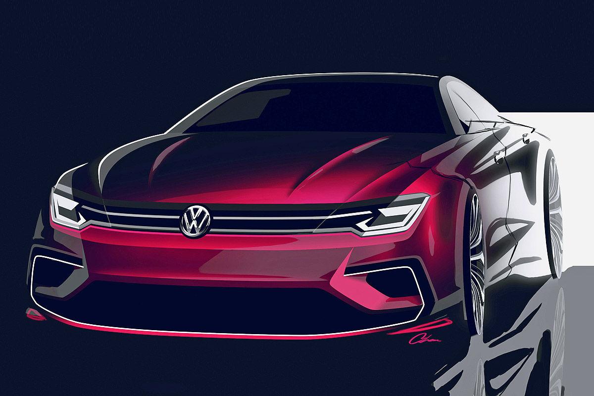 Официальный скетч Volkswagen Midsize Coupe 2014 года