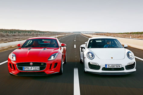 Porsche 911 Turbo/Jaguar F-Type R Coupé: Vergleich