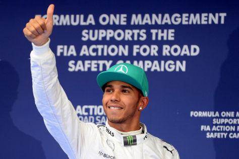 Victory! Besonders, wenn es trocken bleibt, kann Hamilton schon mal üben