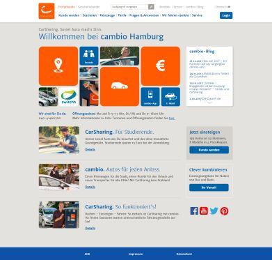 Internetseite von Cambio