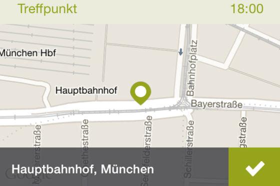 Bild aus der Smartphone-App von mitfahrgelegenheit.de