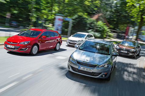 Opel Astra Sports Tourer, Hyundai i30 Kombi, Peugeot 308 SW, Renault Mégane Grandtour