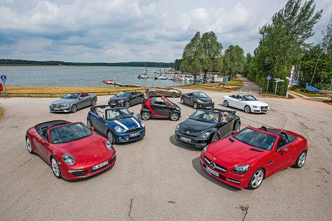 Porsche 911 Cabrio, Mercedes E Cabrio, Mini Cooper S Cabrio, VW Golf GTI Cabrio, Smart fortwo Cabrio, Opel Cascada, Peugeot 207 CC, Audi A5 Cabrio, VW Beetle Cabrio, Mercedes SLK